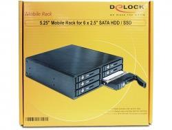 Delock Przenośny stelaż 5.25 do dysków HDD 6 x 2.5 SATA HDD / SSD