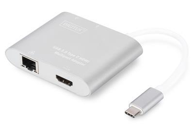 Multi Adapter HDMI 4K 30Hz UHD, RJ45, 2x USB 3.0 na USB Typ C, srebrny, alu.